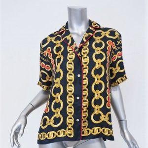 Sandro Blouse Mathias Navy Chain Print Silk Size 1
